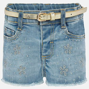 Mayoral Girls Flower Denim Shorts with Belt - Bloom Kids Collection - Mayoral