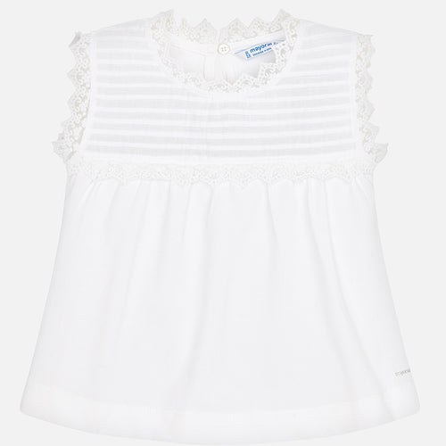 Mayoral Girls Lace Top Tank - White - Bloom Kids Collection - Mayoral