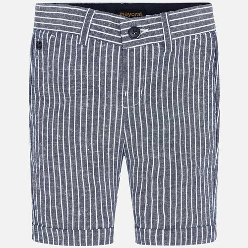 Mayoral Boy Striped Bermuda Shorts - Navy