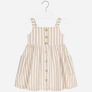 Mayoral Striped Linen Dress - Sand - Bloom Kids Collection - Mayoral