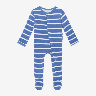Posh Peanut Footie Snap One Piece - Denim Blue Stripe