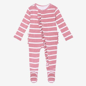 Posh Peanut Footie Ruffled Snap One Piece - Blush Rose Stripe