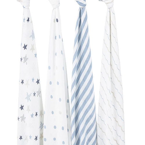 Aden + Anais Classic Swaddles - Rock Star 4-pack - Bloom Kids Collection - Aden + Anais