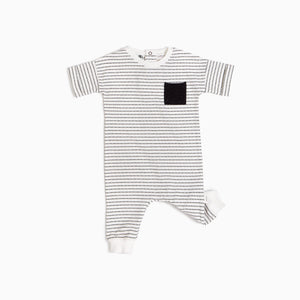 Miles Baby Miles Black & White Striped Playsuit