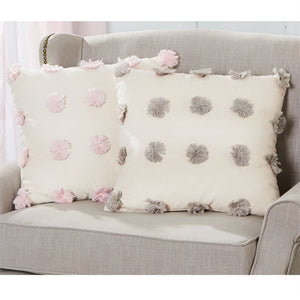 Mud Pie Pom Pom Pillow - Pink - Bloom Kids Collection - Mud Pie