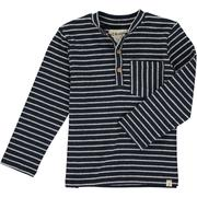 Me & Henry Henley Pocket Button Tee - Navy Stripe