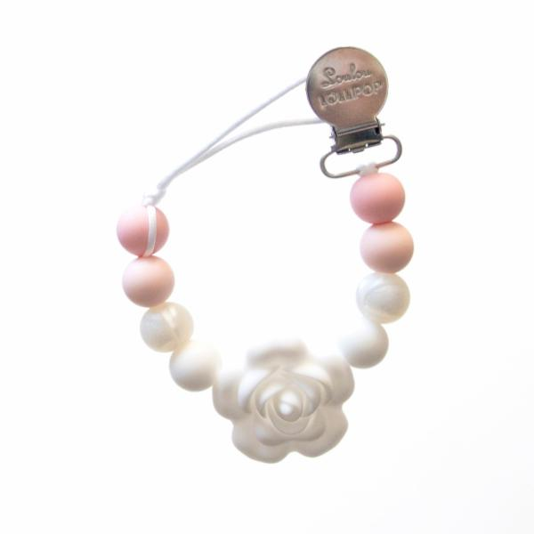 Loulou Lollipop Pacifier Flower Clip - Baby Powder - Bloom Kids Collection - Loulou Lollipop