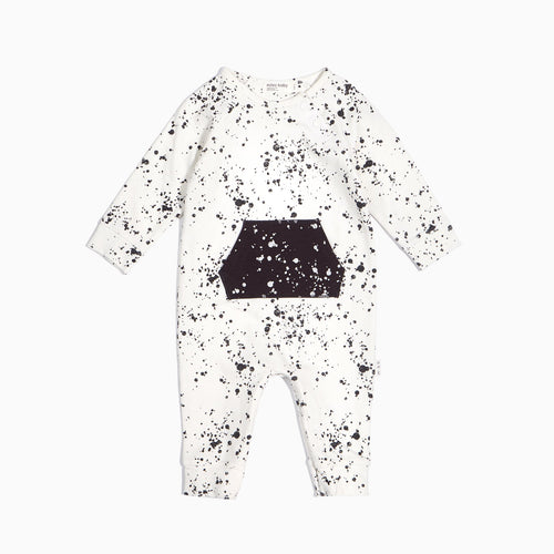 Miles Baby Artsy Fartsy Off-White Playsuit with Grey Splatter - Bloom Kids Collection - Miles Baby