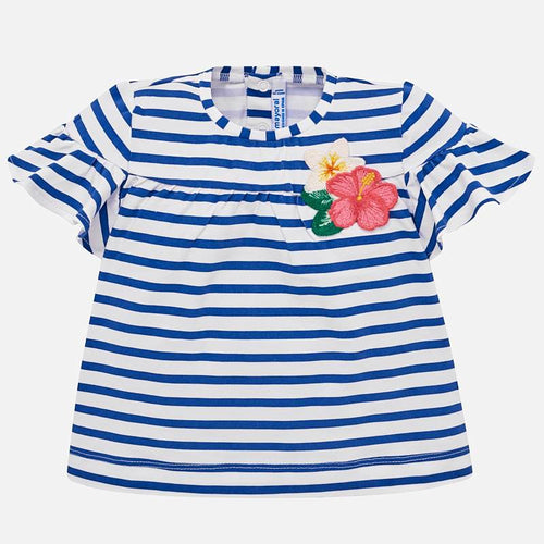 Mayoral Striped Short Sleeved Geranium Top
