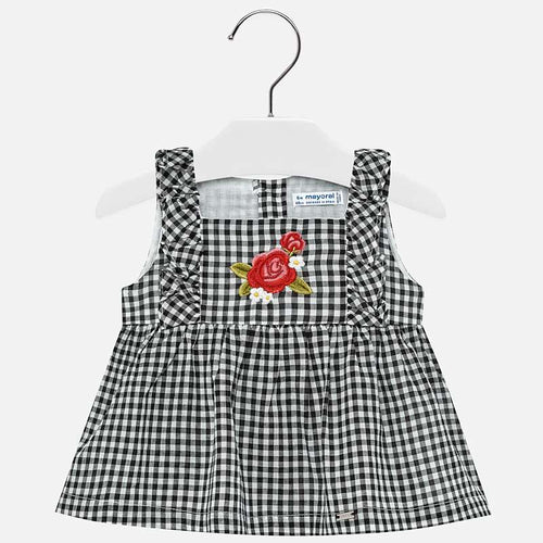Mayoral Black Gingham Check Baby Girl Tank