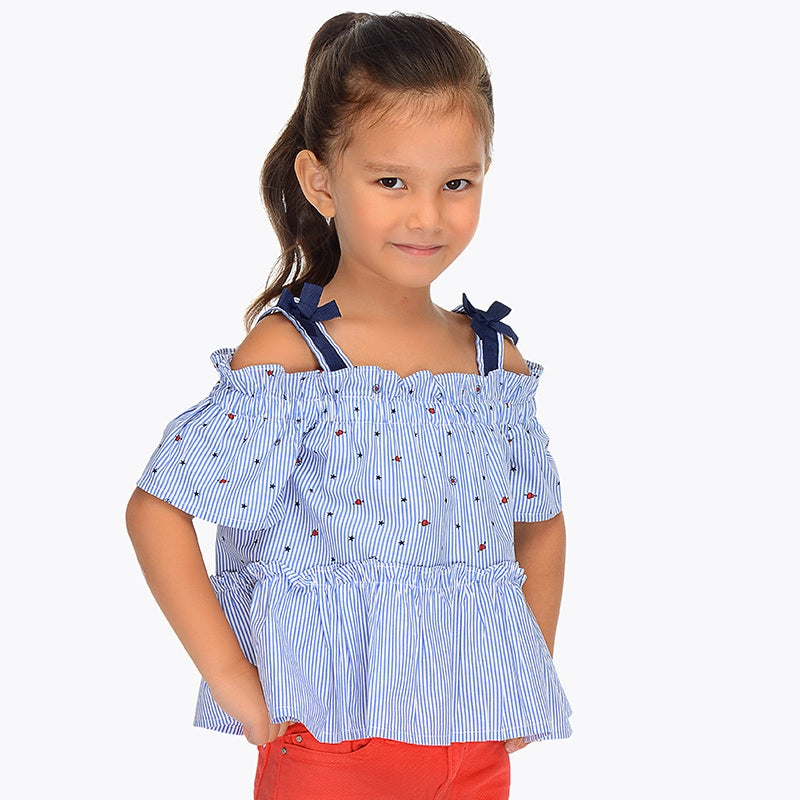 Mayoral Girls Indigo Stars and Stripes Top - Bloom Kids Collection - Mayoral
