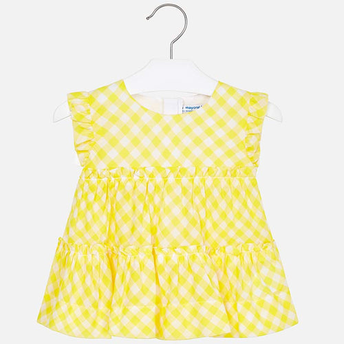 Mayoral Girls Yellow Gingham Sleeveless Top