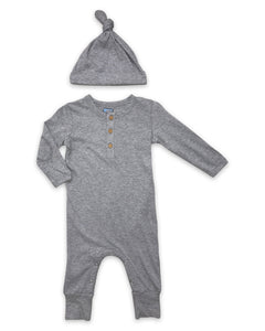 Little Prim Finn Playsuit - Heathered Grey - Bloom Kids Collection - Mustard Pie
