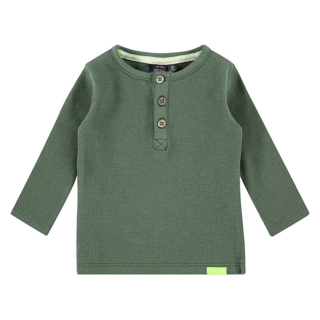 Babyface Baby Boy Long Sleeve Thermal Tee - Army