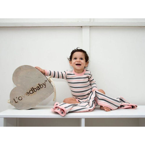 L'ovedbaby Organic Gloved-Sleeve Bodysuit - Coral Stripe - Bloom Kids Collection - L'ovedbaby