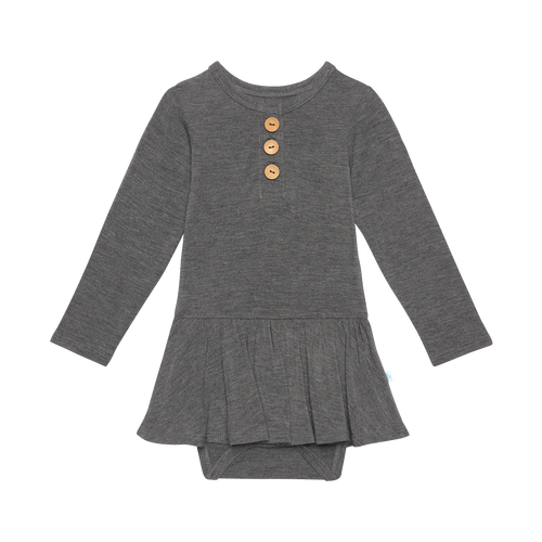 Posh Peanut Long Sleeve Henley Twirl Skirt Bodysuit - Charcoal Heather