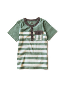 Tea Collection Striped Pocket Henley - Sagebrush - Bloom Kids Collection - Tea Collection