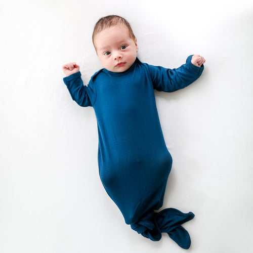 Posh Peanut Knotted Gown - Sailor Blue - Bloom Kids Collection - Posh Peanut