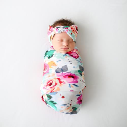 Posh Peanut Swaddle Headband Set - Fuchsia Wild Flower