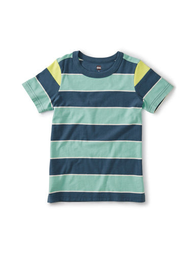 Tea Collection Striped Shoulder Inset Tee - Indian Teal - Bloom Kids Collection - Tea Collection