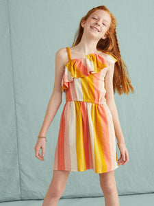 Tea Collection Metallic Ruffle Shoulder Dress - Dusty Coral - Bloom Kids Collection - Tea Collection