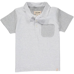 Me & Henry Halyard Polo - Grey White Micro Stripe