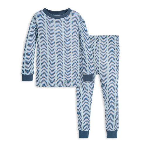 Burt's Bees Watercolor Chevron Organic Cotton Snug Fit Pajama Set - Blue Star