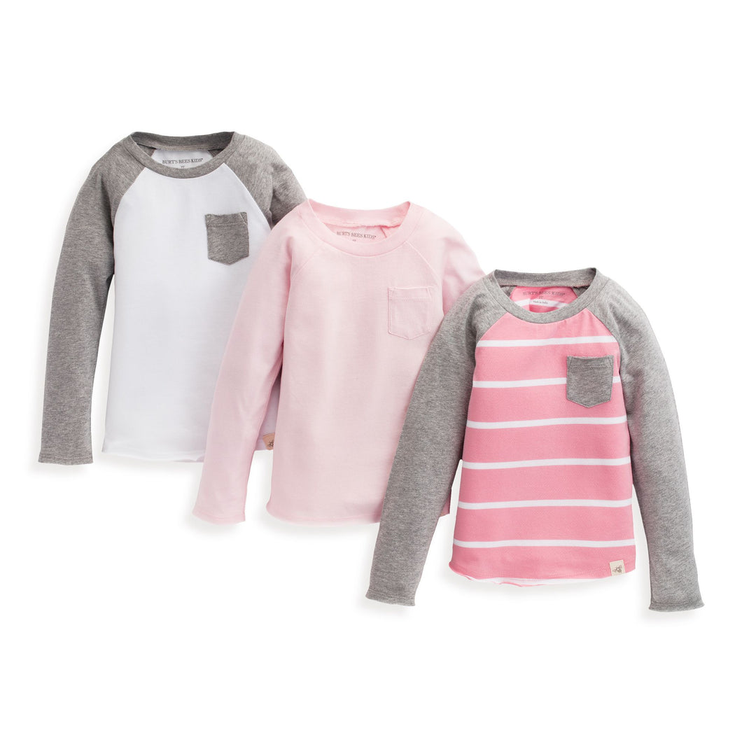 Burt's Bees Long Sleeve Raglan Tee - Set of 3 - Water Lily - Bloom Kids Collection - Burt's Bees