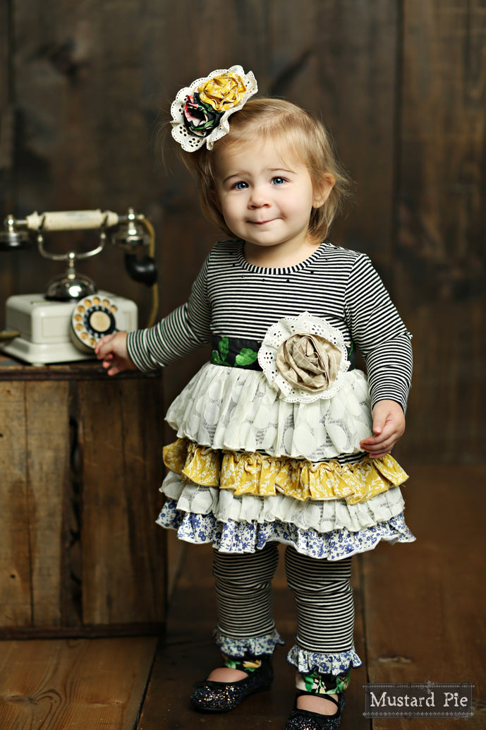 Mustard Pie English Blue Lily Tunic Set - Bloom Kids Collection - Mustard Pie