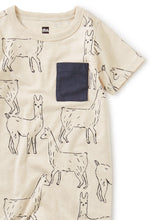 Tea Collection Printed Pocket Romper - Llama Love