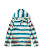 Tea Collection Striped Happy Hoodie - Mint Chip