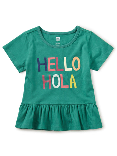 Tea Collection Hello Goodbye Peplum Top - Emerald Sea