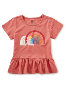 Tea Collection Double Rainbow Peplum Top - Faded Rose