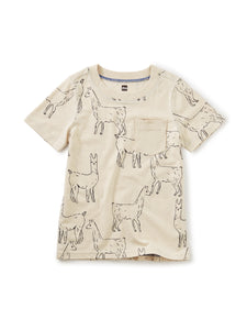 Tea Collection Printed Tee w/ Rib Pocket - Llama Love