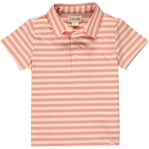 Me & Henry Flagstaff Polo - Coral Cream Stripe