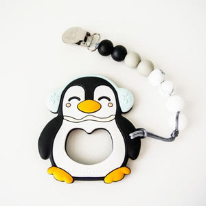 Loulou Lollipop Teether - Black Penguin with Holder