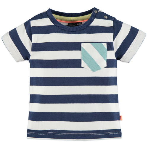 Babyface Baby Boys Striped Short Sleeve T-Shirt - Marine - Bloom Kids Collection - Babyface