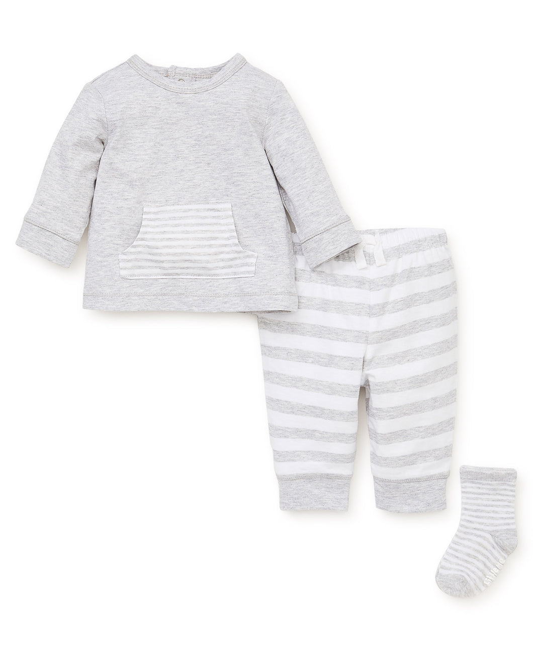 Little Me Grey Stripe Mix Jogger Set - Bloom Kids Collection - Little Me