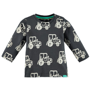 Babyface Baby Boy Long Sleeve Tractor Top - Dark Grey