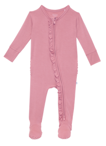 Posh Peanut Footie Ruffled Zippered One Piece - Solid Dusty Rose