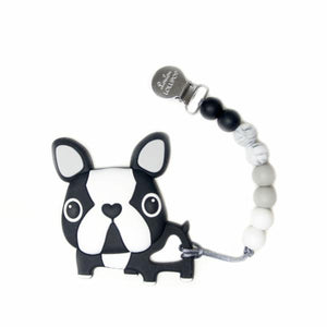 Loulou Lollipop Teether - Boston Terrier Black with Holder - Bloom Kids Collection - Loulou Lollipop