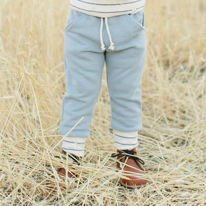 Lulu + Roo Sweat Pants - Slate & Woven Stripe - Bloom Kids Collection - Lulu + Roo