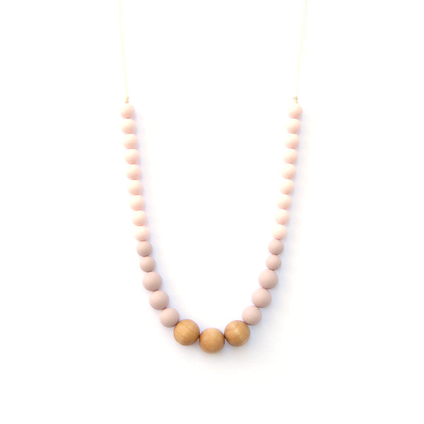 Loulou Lollipop Naturalist Teething Necklace - White Grey - Bloom Kids Collection - Loulou Lollipop