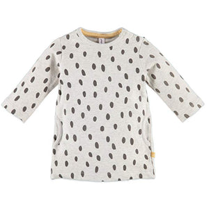 Babyface Dot Sweatshirt Dress - Cool Grey Melee - Bloom Kids Collection - Babyface
