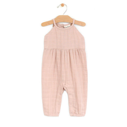 City Mouse Muslin Lace Back Long Romper - Soft Peach