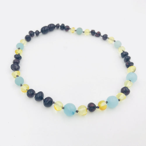 Lemon Vines Diamond Sky Baltic Amber and Gemstone Necklace - Bloom Kids Collection - Lemon Vines