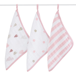Aden + Anais Washcloth Set - Heart Breaker 3-pack - Bloom Kids Collection - Aden + Anais