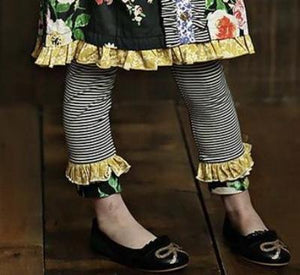 Mustard Pie English Blue Griffin Legging - Black Stripe - Bloom Kids Collection - Mustard Pie