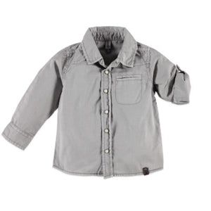 Babyface Long Sleeve Button Up - Concrete - Bloom Kids Collection - Babyface
