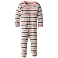 L'ovedbaby Organic Footed Overall - Coral Stripe - Bloom Kids Collection - L'ovedbaby
